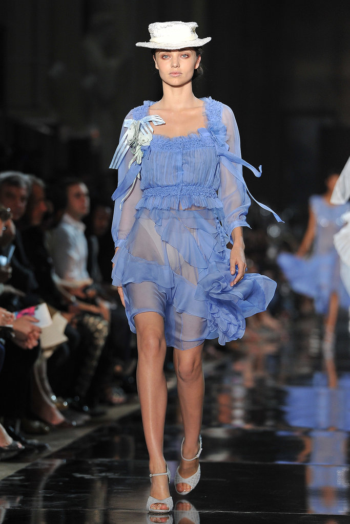 And then finished up Paris Fashion Week Spring 2012 at John Galliano in a sheer blue dress with white hat.