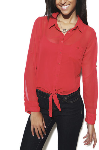 Roll Sleeve Tie Front Shirt