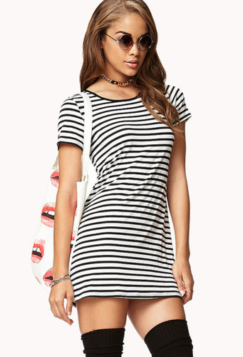 FOREVER 21 Nautical Stripe T-Shirt Dress