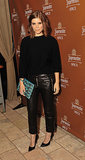 Black leather pants, cropped and boxy rather than skinny, added some edge to Kate Mara's look at a recent New York event. She softened up the pants with a knit top, both from Michael Kors Pre-Fall 2013. Her bag and shoes were also from the label.