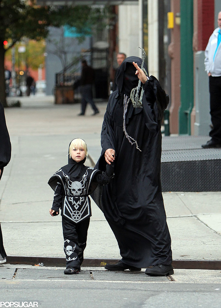 Liev Schreiber and Sasha were in matching creepy costumes for trick-or-treating in NYC in 2011.