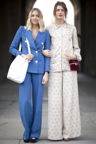 Pals in pantsuits give us a quirky alternative to the dress.