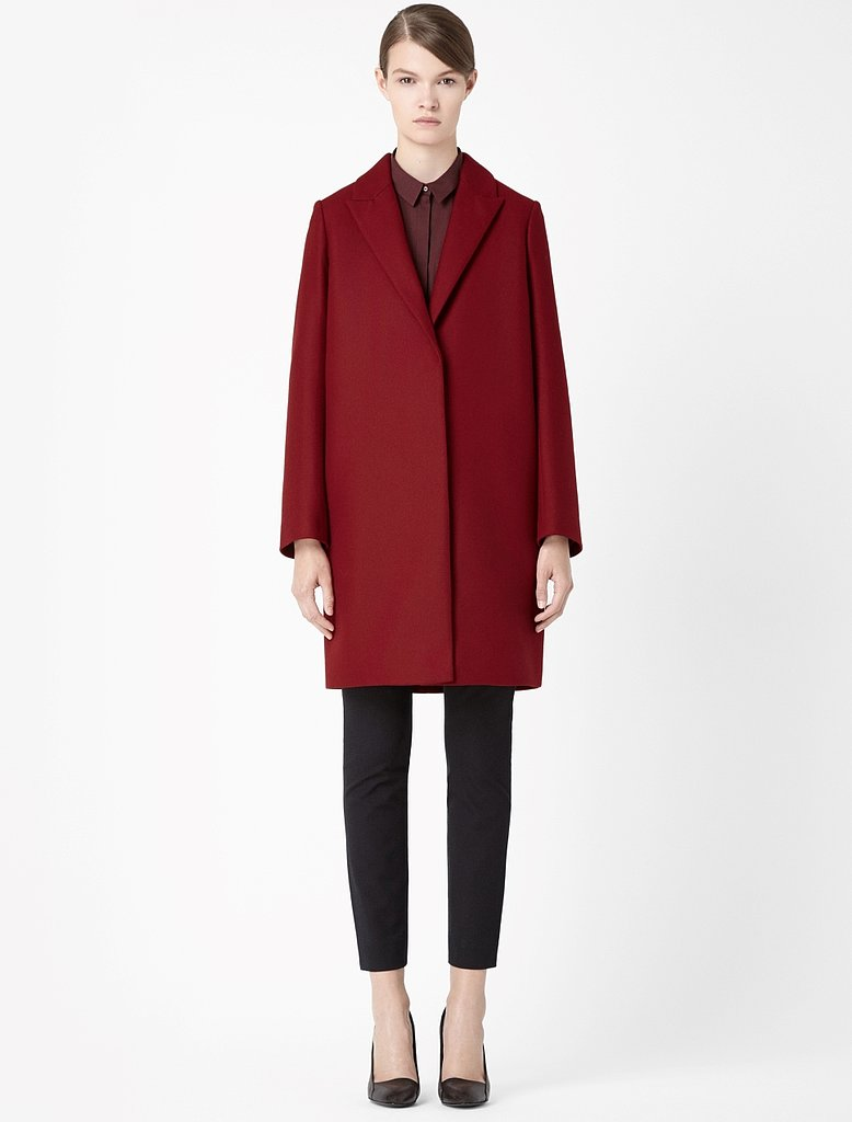 Break up a sea of black outerwear with a deep red topper ($241).