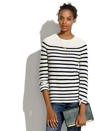 Elbow-Patch Stadium Sweater in Stripe