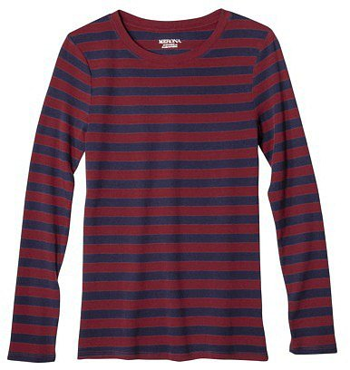 Merona® Women's Long Sleeve Ultimate Crew Tee - Stripes