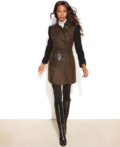 DKNY Coat, Double-Breasted Colorblock Belted Wool-Blend