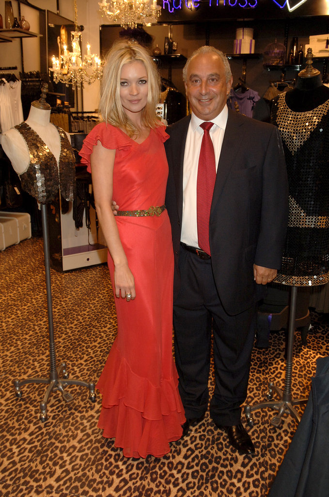 While prices from this collaboration aren't yet known, we do know is that it will be based on Moss's own wardrobe. At left, Moss poses with Topshop owner Sir Phillip Green at the launch of her first collaboration with the brand in 2007. Photo courtesy of Topshop