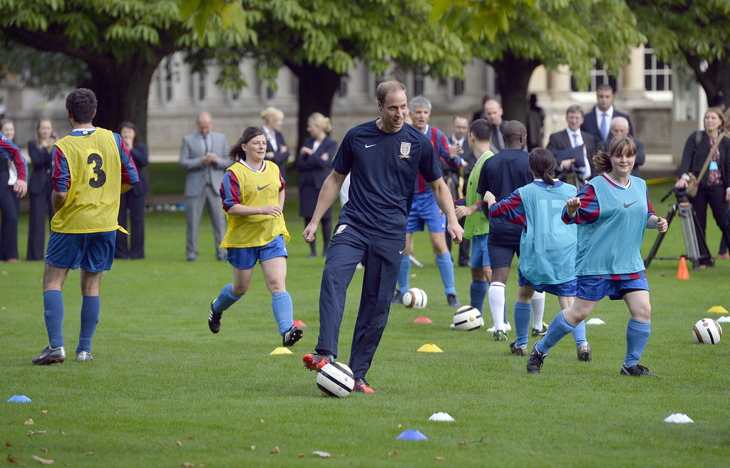 Prince William joined players to run drills alongside the match.
