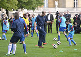 Prince William trained with players at Buckingham Palace.