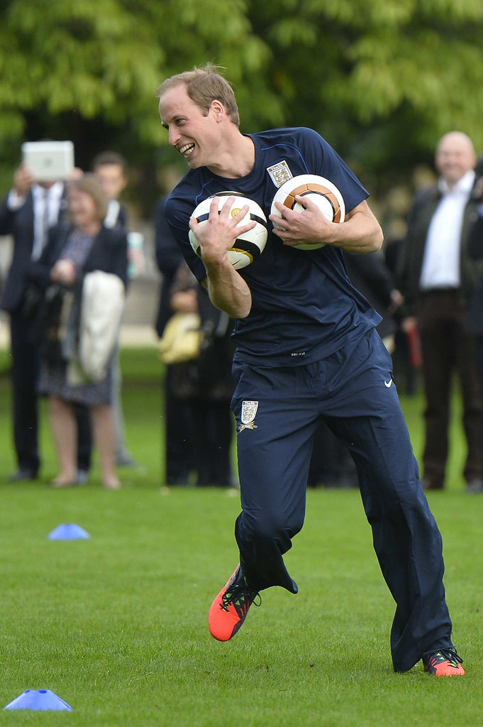 Onlookers watched as Prince William played soccer.