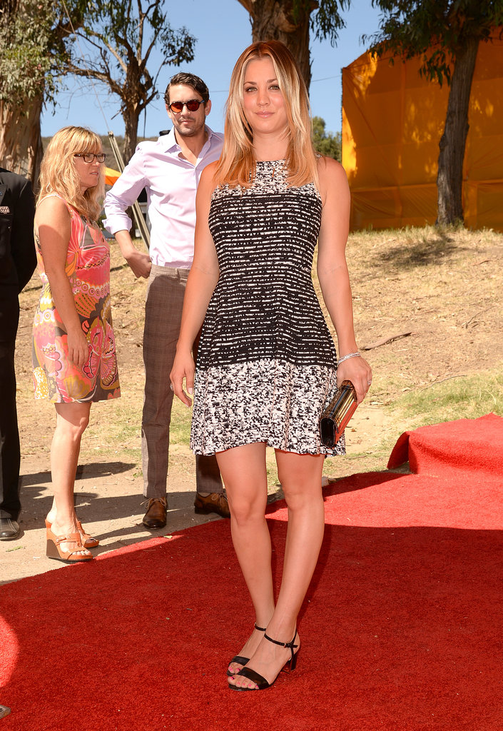 Kaley Cuoco chose a black-and-white printed minidress and Jimmy Choo clutch for the Veuve Clicquot Polo Classic in Pacific Palisades, CA.