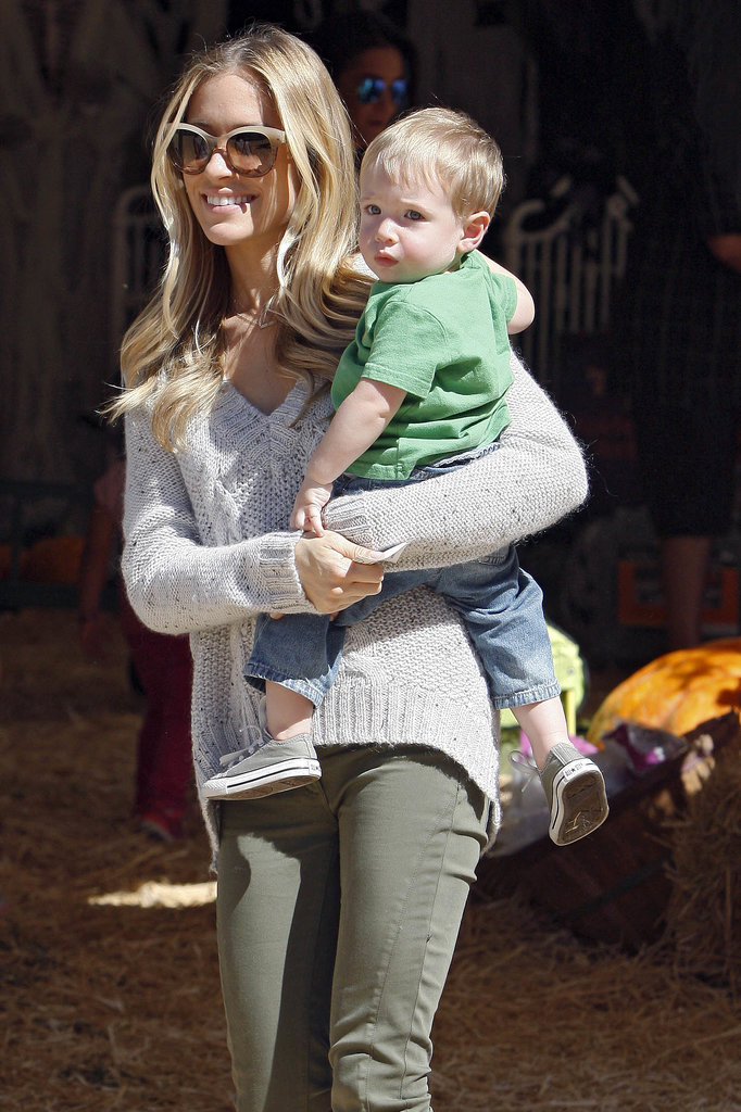 Kristin Cavallari, who's expecting baby number two, and her son, Camden, went hunting for pumpkins at Mr. Bones's Pumpkin Patch in LA.