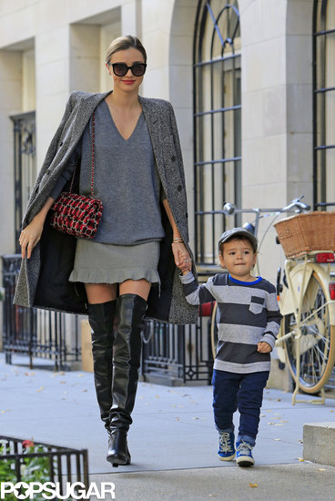 Miranda Kerr walked with her son, Flynn Bloom, in NYC.