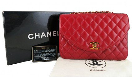 very good (VG) Chanel 2way Red Lambskin Vintage 2.55 Medium Classic Flap Bag
