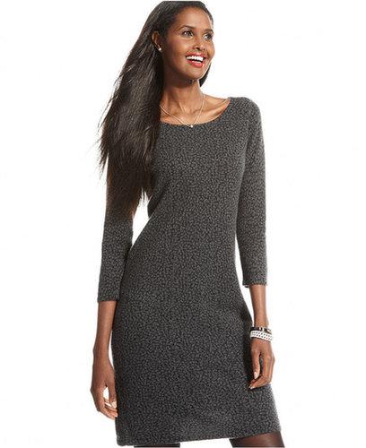 Charter Club Dress, Three-Quarter-Sleeve Cashmere Animal-Print Sweater