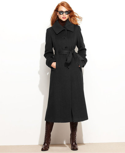 Anne Klein Coat, Wool-Cashmere-Blend Belted Walker
