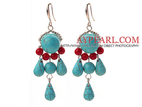 Assorted Red Coral and Turquoise Dangle Earrings