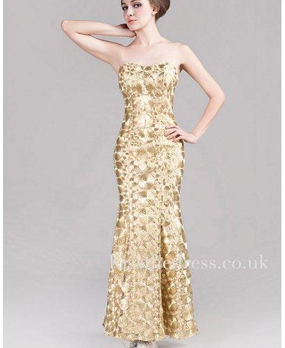 Gold Strapless Sequins Mermaid Long Evening Dress XZ001