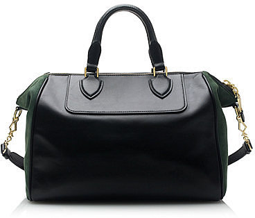 Leather and suede satchel