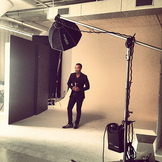 John Legend looked dapper on the set of a photo shoot. Source: Instagram user johnlegend