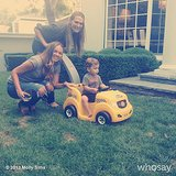 Molly Sims and her friend built baby Brooks a ride-on toy from the ground up. Source: Instagram user mollybsims
