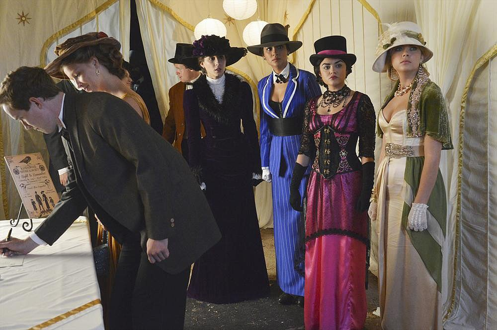 Spencer, Emily, Aria, and Hanna got in the Halloween spirit donning period costumes on tonight's Halloween special.  Photos courtesy of ABC Family