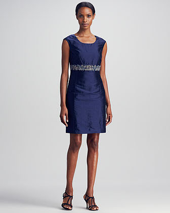 Neiman Marcus Bead-Trim Dress, Navy