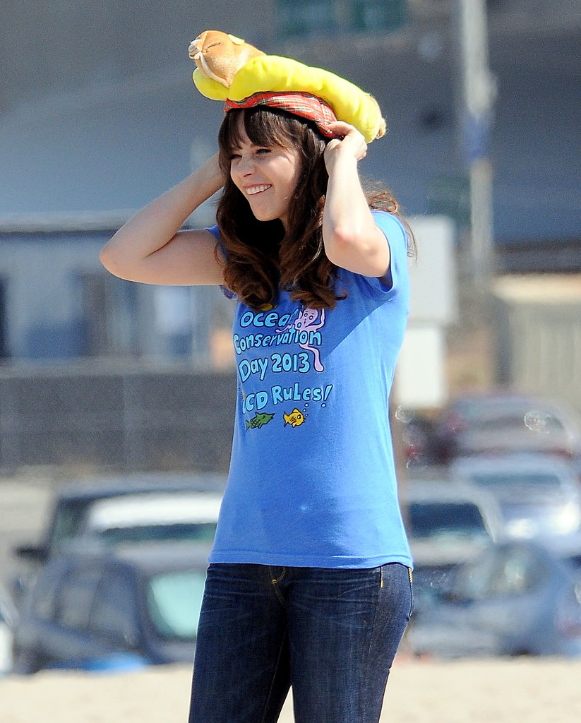 Zooey Deschanel donned a hot-dog hat on Monday while filming New Girl in LA.