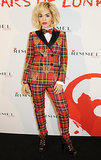 Rita Ora stood out in Moschino's plaid at Rimmel's London Film Museum party.