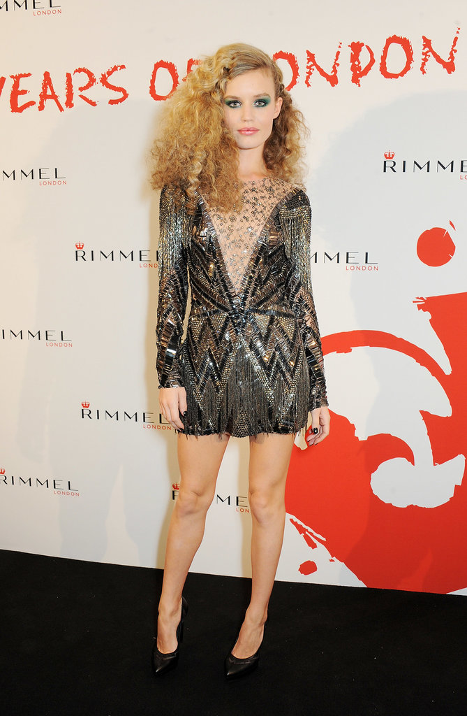 Georgia May Jagger took the plunge in a sequin cocktail dress at Rimmel's 180 Years of Cool bash.