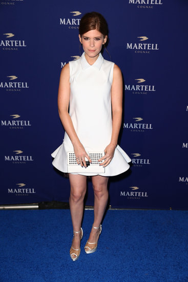Wearing white past Labor Day was a cinch for Kate Mara, who picked a flippy, flirty cotton dress from Viktor & Rolf's Resort 2014 collection. She accessorized the look with a Rebecca Minkoff clutch.
