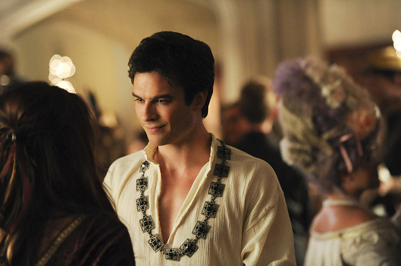 The Vampire Diaries Damon (Ian Somerhalder) sports an unusual necklace as Henry VIII.