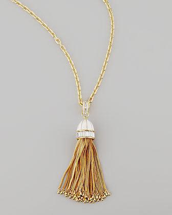 Rachel Zoe Tassel Pendant Necklace, White