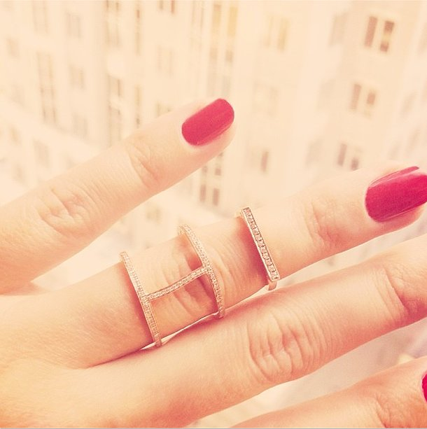 The only thing prettier than Lauren Conrad's bright manicure were her delicate gold rings. Source: Instagram user laurenconrad