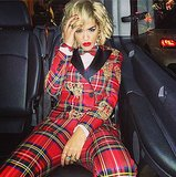 Before she rocked Rimmel's red carpet, Rita Ora got amped up in her Moschino suit. Source: Instagram user ritaora