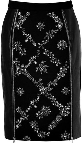 Preen Leather/Wool Embellished Dotty Skirt in Black