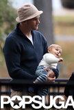 Tom Brady held on to baby Vivian.