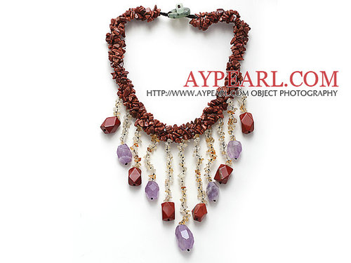 fashion multi twisted strand goldstone chips and citrine amethyst dangling pendant necklace