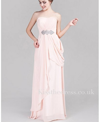 Elegant Chiffon Pink Strapless Empire Long Evening Dress XZ042