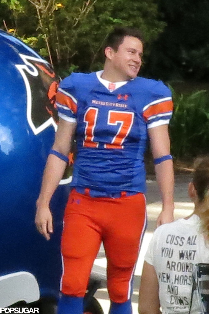 Channing Tatum looked hot in a football uniform on the set of 22 Jump Street in New Orleans.