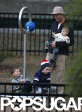 Tom Brady played with his kids at the park.