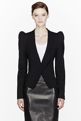 MUGLER Black Stray Shoulder blazer