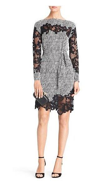 Diane Von Furstenberg's Ernestina printed lace detail dress ($498) is both ladylike and sexy.