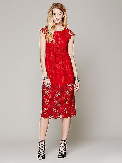 Dress this Lindsey Thornburg + Free People long lace baby doll dress ($432) up with metallic heels.