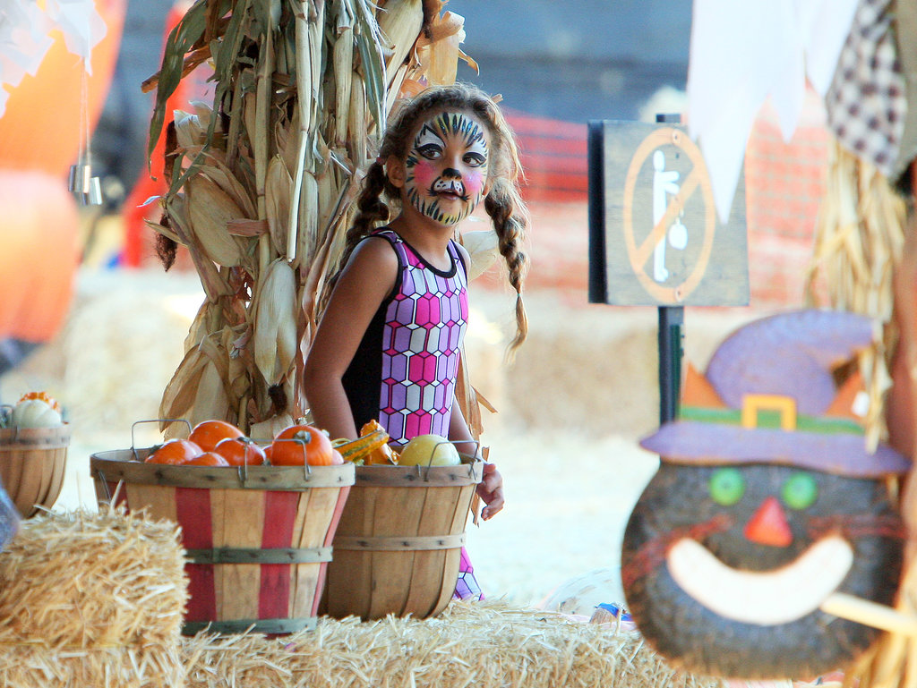 Nahla Aubry got her face painted at an LA pumpkin patch.