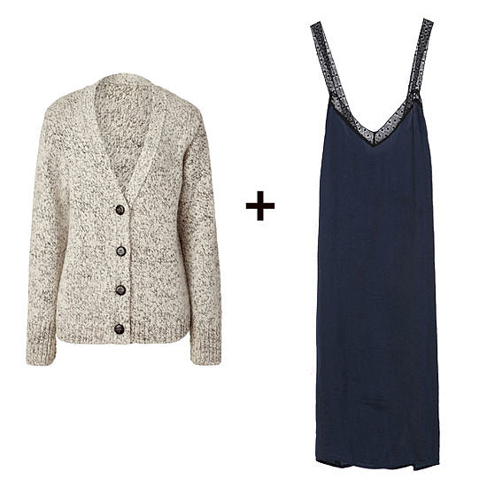 Ground a lingerie-style slip dress with a chunky cardigan for a night out — and further the cozy feel with knee-high boots and tights. Shop the look:  Vanessa Bruno Athé Pebble Knit Cardigan ($185, originally $370) Zara Two-Tone Lingerie Style Dress ($36)