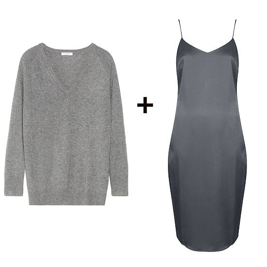Play the monochrome look while juxtaposing textures. Try an oversize cashmere knit over a slinky slip dress for an evening out. Just add your strappiest heels.  Shop the look:   Equipment Asher Cashmere Sweater ($290) Topshop Satin Midi Slip Dress ($70)