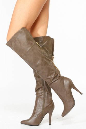 Anne Michelle Taupe Pointy Toe Knee High Boots @ Cicihot Boots Catalog:women's winter boots,leather thigh high boots,black platf