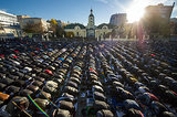 In Moscow, Muslims prayed together on the first day of Eid al-Adha.