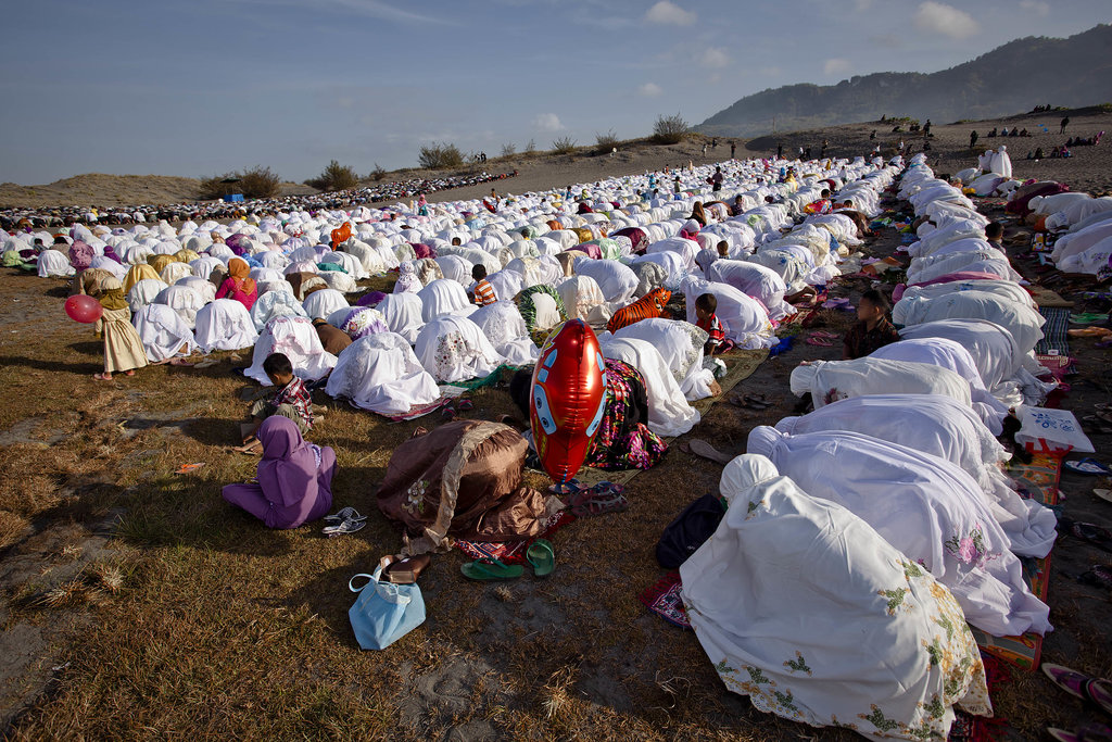 Thousands of Indonesian Muslims prayed for Eid al-Adha in Yogyakarta, Indonesia.